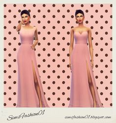 Long Dresses (Slit Dress) All colors at Sims Fashion01 via Sims 4 Updates