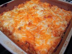 King Ranch Chicken--chicken, cheese, tortilla chips.  Hello yumminess!  Can't wait to try this one, and it sounds SO EASY!