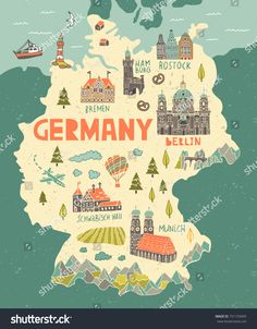 Find Illustrated Map Germany Travel Attractions stock images in HD and millions of other royalty-free stock photos, illustrations and vectors in the Shutterstock collection. Travel Maps, Solo Travel, Travel Posters, Map Design, Travel Design, Design Web, Germany Memes, Bel Art, Thinking Day