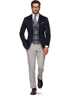 Jacket Navy Plain Havana Cashmere SuitSupply