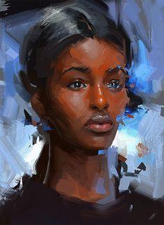 53 Digital Paintings By Brazilian Artist Thiago Moura Januário Black Girl Art, Black Women Art, Black Art, Art Girl, Acrylic Portrait Painting, Portrait Art, African American Artist, African Art, Black Image