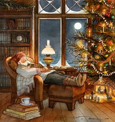 "Trisha Romance Handsigned and Numbered Limited Edition Giclee:""Christmas Nap"" Christmas Scenes, Noel Christmas, Vintage Christmas Cards, Christmas Pictures, Winter Christmas, Christmas Fireplace, Disney Christmas, Christmas 2019, Christmas Decor"