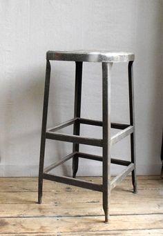 Vintage Industrial Tall Metal Stool : Machine Age