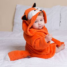 Baby Fox Bathrobe - similar, but with faux fur & more realistic look. As a sweater/hoodie. Little Babies, Cute Babies, Fox Baby Clothes, Baby Boy Outfits, Kids Outfits, Wishes For Baby, Everything Baby, Baby Needs, Baby Time