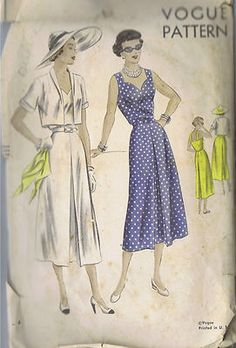 Vogue Pattern  Pattern Number 6826  Copyright: 1950s    Vintage 50's One Piece Dress and Bolero Topper Pattern    Skirt with inverted pleat at centre-front and centre-back joins the sleeveless bodice at waistline.  Shaped neckline in front, low-cut back held by shoulder straps.  Bolero Topper has narrow shawl collar and short sleeves with narrow cuffs.