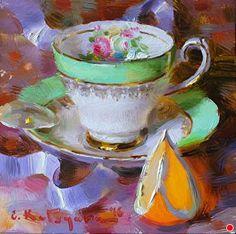 Green Teacup and Orange by Elena Katsyura  ~ 6 in x 6 in