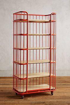 Visby Narrow Wheeled Six-Shelf Bookcase