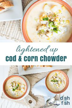 Healthy Cod & Corn Chowder – Dish on Fish Feel full and satisfied, without feeling bloated, with this amazing and heart-healthy seafood soup recipe. Your entire family will be coming back for seconds of this seafood soup. Seafood Soup Recipes, Healthy Soup Recipes, Fish Recipes, Cooking Recipes, Healthy Corn, Cod Recipes, Snack Recipes, Heart Healthy Soup, Seafood Meals