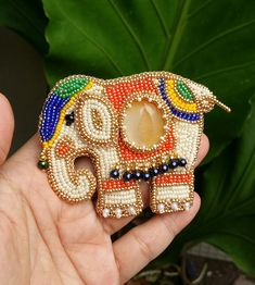 Baby elephant Beads embroidery