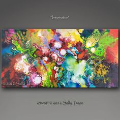 Enhanced Giclee Abstract Painting from my original acrylic painting, Inspiratus, 24x48, mixed media on canvas