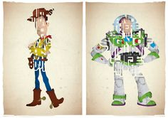 Set of 2 typography prints based on quotes from the movie Toy Story