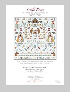 LITTLE BEARS Counted Cross Stitch by RiverdriftNeedlework on Etsy #crossstitch #etsy