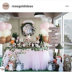Woodland birthday Party ideas, animals Party, boho Party decoration, Kids Party, first birthday part Girl Birthday Themes, Girl Themes, Baby Girl First Birthday, Birthday Party Games, First Birthday Parties, First Birthdays, Woodland Party, Shower Bebe, Creation Deco