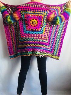 Rainbow Granny Square Knit Crochet CARDIGAN Colourful Sweater Plus Size Boho Gypsy Clothing Wool Coat Jacket Lace Coat Oversized Transformer - Knitting Ideas Gilet Crochet, Crochet Jacket, Crochet Cardigan, Knit Crochet, Crochet Granny, Knit Vest, Knit Lace, Beige Cardigan, Hand Knitting