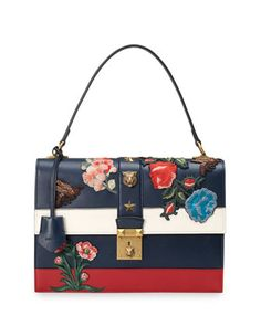Embroidered+Riche+Stripe+Shoulder+Bag,+Blue/Red+by+Gucci+at+Bergdorf+Goodman.