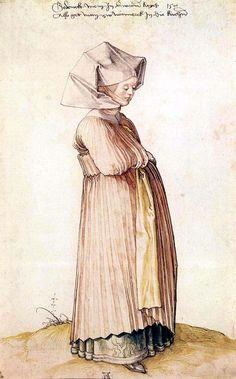 Woman attending church, Nuremberg 1500. By Albrecht Durer.