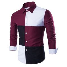 Slimming Shirt Collar Trendy Color Block Stitching Long Sleeve Cotton Blend Men's Shirt - RED WITH WHITE L