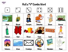 """Roll a Dice Games for initial, medial, final, and combo """"V"""" sound. Print one copy for each student. Laminate for added durability. Roll the dice to mark off the pictures/words (use dry erase or bingo chips). The first person to mark off one word under each number wins the game!"""