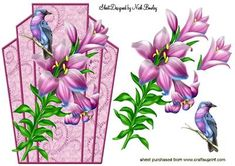 PINK LILIES WITH PRETTY BIRD ART DECO TOPPER on Craftsuprint designed by Nick Bowley - PINK LILIES WITH PRETTY BIRD ART DECO TOPPER, Makes a pretty card, lots of other lily designs to see - Now available for download!