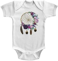 White Floral Dreams Bodysuit - Infant #baby #babygirl #affiliate #dreamcatcher #bohobaby #onesie