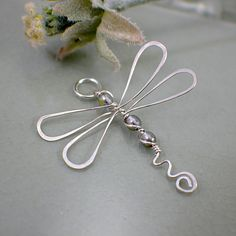 Silvery vitral dragonfly pendant sterling silver wire wrapped jewellery. $18.50, via Etsy.