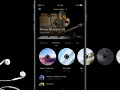 Hi friends, Finally I've some time & permission to share some of my works from Here is music exploration screen for feels app. At top we have featured content (artist, album, track). Ios 7 Design, Dashboard Design, Design Design, User Experience Design, Customer Experience, Music App, Ui Web, Ui Inspiration, User Interface Design