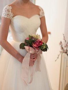 Bridal Dress Lace Cap Sleeves Ruched Sweetheart Neckline Wedding Dress With Removable Sash on Luulla