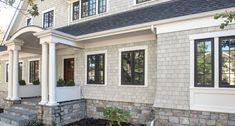 gray clapboard house with colorful front door Cedar Shingle Siding, Cedar Shake Siding, White Siding, Cedar Shingles, Cedar Shakes, White Exterior Houses, Grey Houses, Exterior House Colors, Exterior Paint