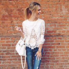 Forest Flower Top - we love this white lace boho blouse! www.spool72.com