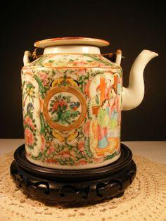 Chinese Famille Rose Teapot  Antique Porcelain by megsantiques