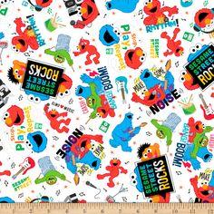 EXCLUSIVE MINKY Sesame Street Loud Noise Toss White - Fabric.com