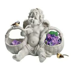 Design Toscano H x W Cherub Garden Statue at Lowe's. Let our baby angel sculpture offer up your garden's bounty or serve the treats at a bridal or baby shower! Amazingly detailed from her curly locks to the Bird Statues, Angel Statues, Garden Statues, Garden Sculptures, Angel Sculpture, Outdoor Statues, Angels In Heaven, Heavenly Angels, Texas Longhorns
