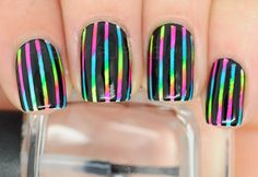 Black and neon stripe nails