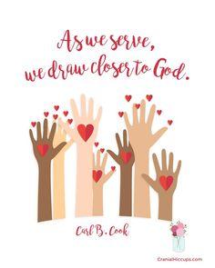 """As we serve, we draw closer to God."" Carl B. Cook #LDSConf"