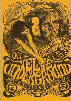 Concert handbill for Velvet Underground,in Vancouver, BC at The Retinal Circus in 1968. 5 x 7 inches.