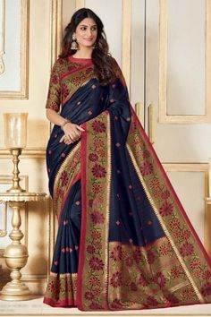 Stylish Blue Bhagalpuri Silk Saree With Bhagalpuri Silk Blouse - DMV12421