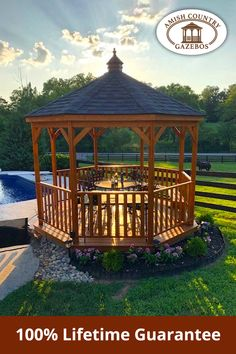Enjoy each sunset from the comfort of a beautiful and durable gazebo! Back Garden Design, Patio Design, Amish Country, Back Gardens, Gazebo, Outdoor Structures, Traditional, Sunset, Fun