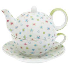 I didn't even know these existed, but of course! Tea pot and cup in one! not to mention the adorable dots on this set :)