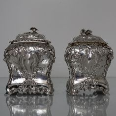 Suite Of Three George III 18th/19th Rococo Silver Tea Caddies In Green Shagreen Box London 1764/1810 Thomas Foster and William Pitts