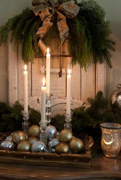TG interiors: Christmas decor at our house... -- ornate tray filled with ornaments and candles