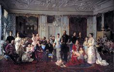 Christian IX with family (his daughter Empress Marie Feodorovna stands center with husband Tsar Alexander III) gathered in the Garden Hall of Fredensborg Palace in 1883 by Laurits Tuxen.