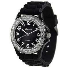 Geneva Platinum Women's Black Silicone Quartz Watch with Black Dial Silicone Band Crystals on Bezel Large Face Watches, Cheap Watches, Watch Sale, Quartz Watch, Crystal Rhinestone, Black Silver, Black White, Bracelet Watch, Band