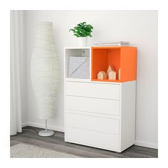 EKET Storage combination with feet - white/orange - IKEA