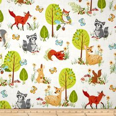 Kaufman Forest Fellow Racoons Wild from @fabricdotcom  Designed by Sea Urchin Studio for Robert Kaufman, this fabric is perfect for quilting, apparel and home décor accents. Colors include white, orange, orange/red, lime green, kelly green, baby blue, brown, yellow, tan and grey.