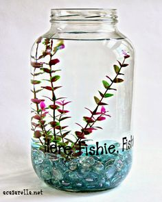 DIY Fish Bowl out of an empty recycled pickle jar! Great idea!