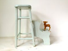 Reserved Sea Blue Wood Stool With Folding Pull-out Steps Childrens Ladder Shabby…