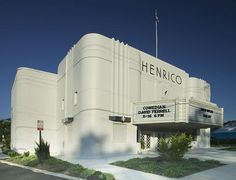 Located in Highland Springs, VA,  the art-deco Henrico Theatre originally opened in 1938. Movie tickets were 25 cents for adults and10 cents for children. The theatre was designated as a bomb shelter during World War II and is listed on the National Register of Historic Places.
