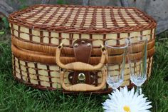Wicker picnic basket with TWO crystal by polkadotsandcurls on Etsy, $45.00
