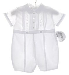 NEW Sarah Louise White Pintucked Romper with Embroidery $50.00