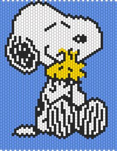 Snoopy Hugging Woodstock bead pattern
